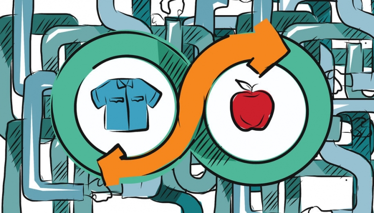 Icon of apple and tshirt