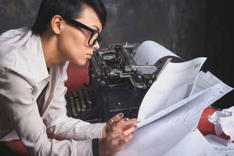 Woman working on papers