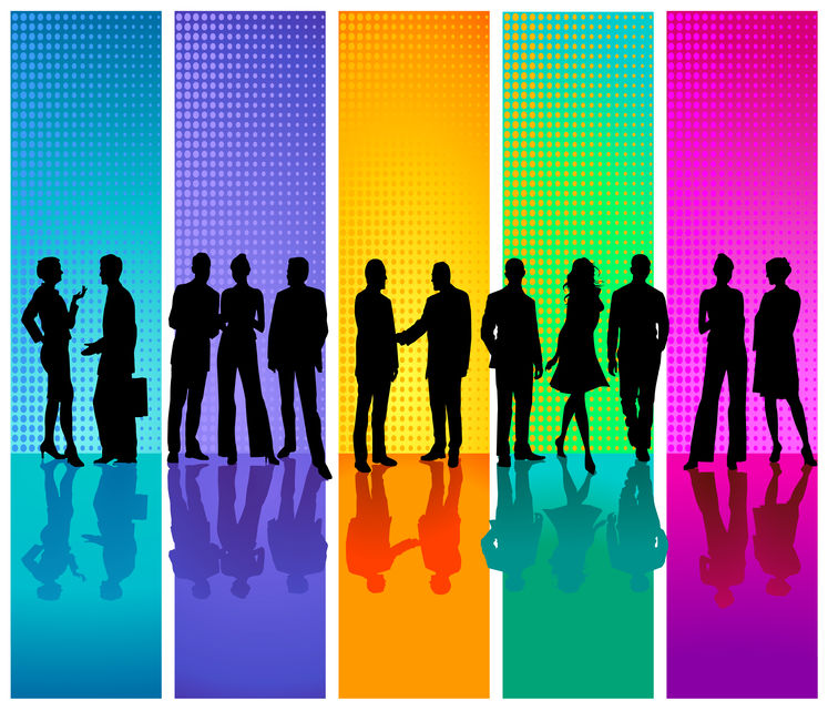 Rainbow colors in the background with figures of people