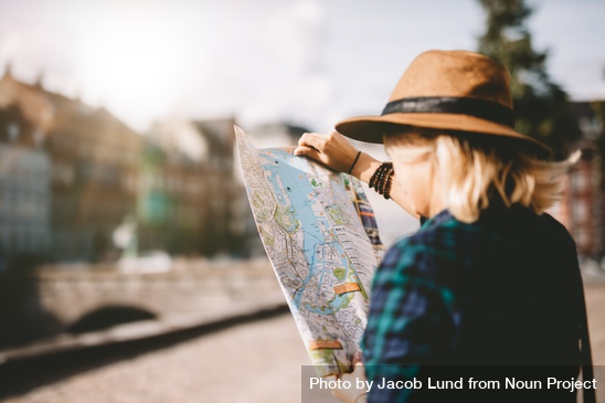 Lady looking at map